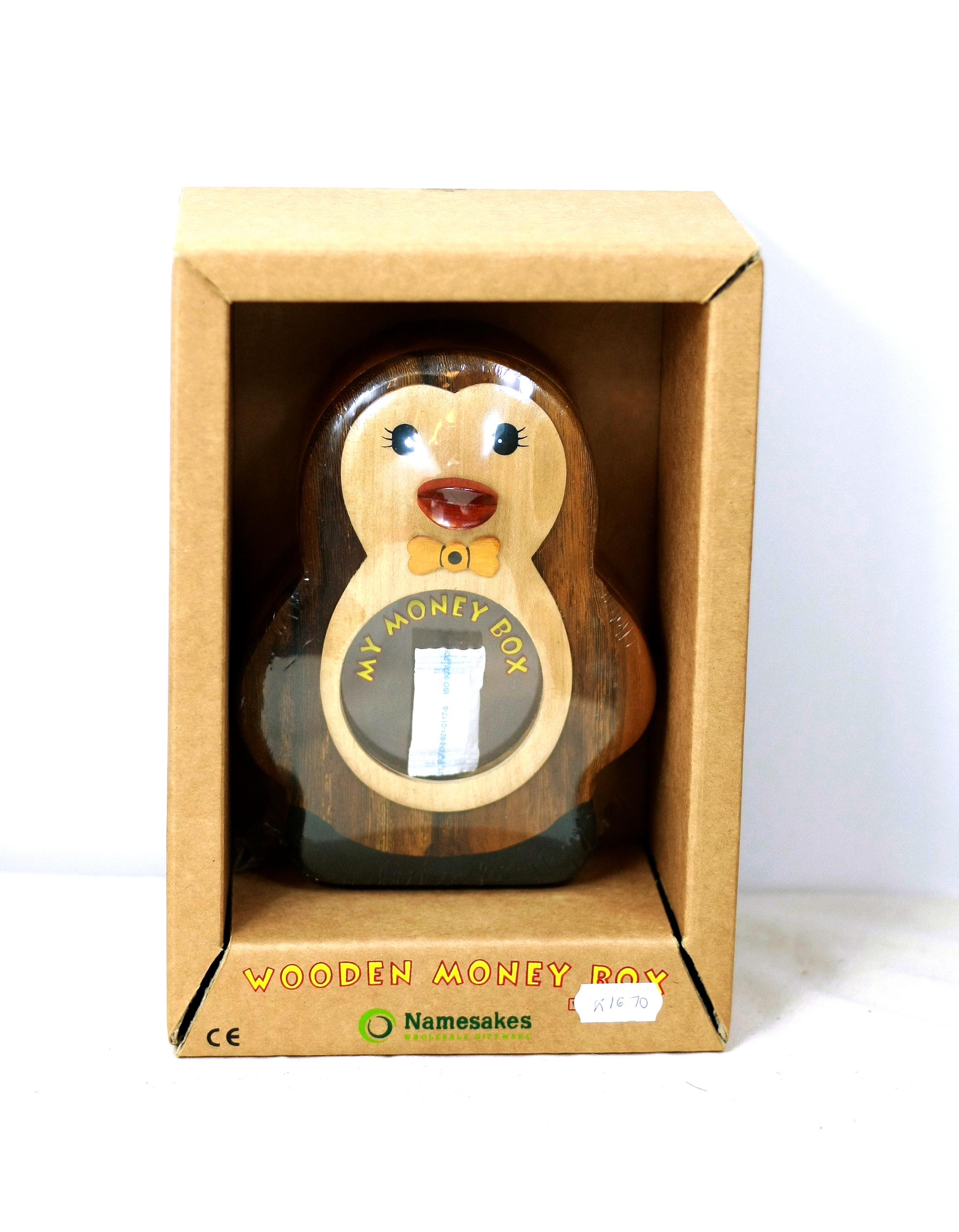 Wooden Penguin Money Box With Secret Lock Penguin Corner