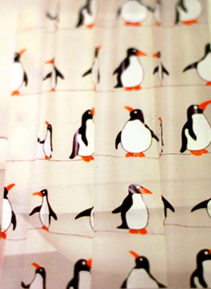 penguin shower curtain 180cm drop
