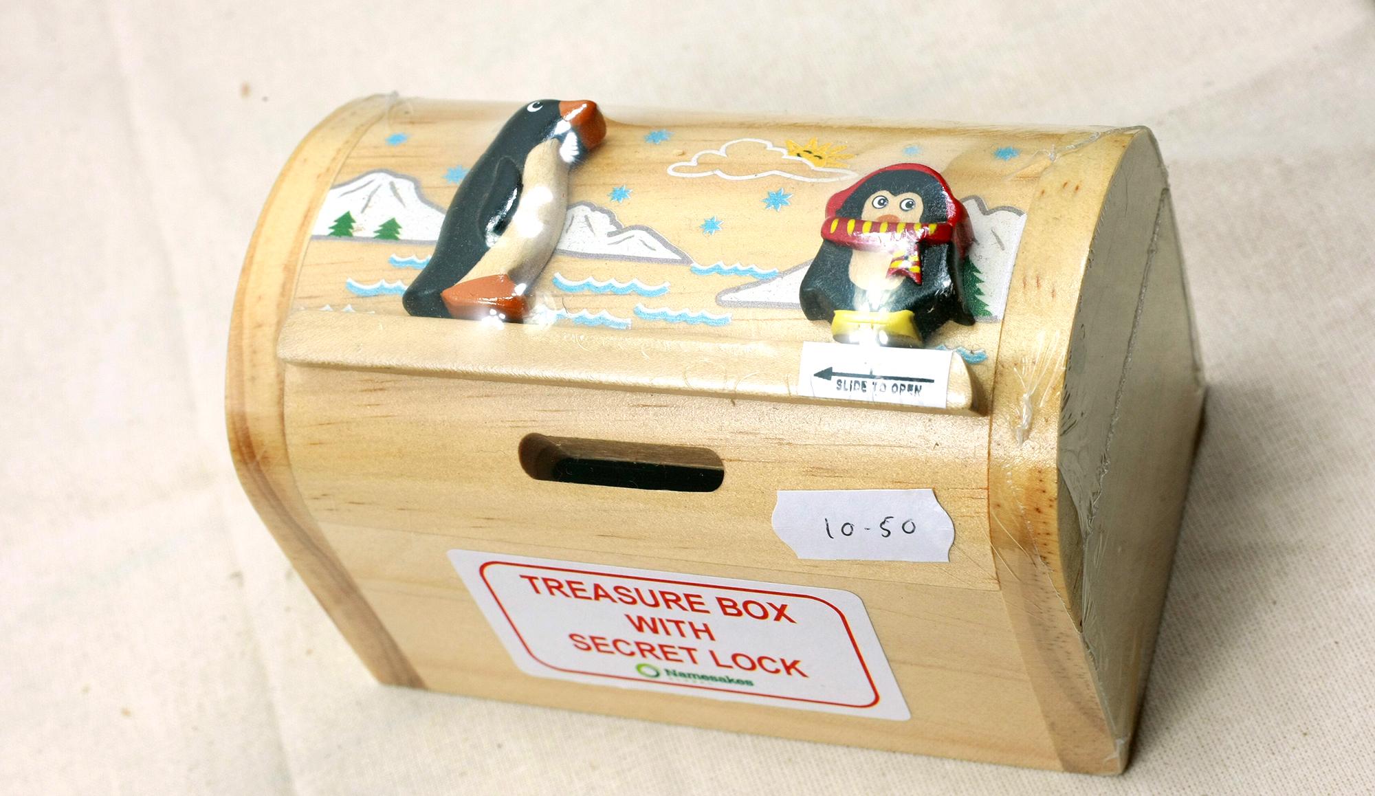 Wooden Penguin Treasure Box With Secret Lock Penguin Corner